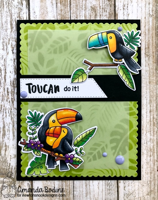 Toucan do it!  | Card by Amanda Bodine | Toucan Party Stamp set and Tropical Leaves Stencil by Newton's Nook Designs #newtonsnook #handmade