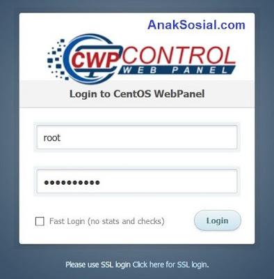 Masuk ke Centos Web Panel dari Browser