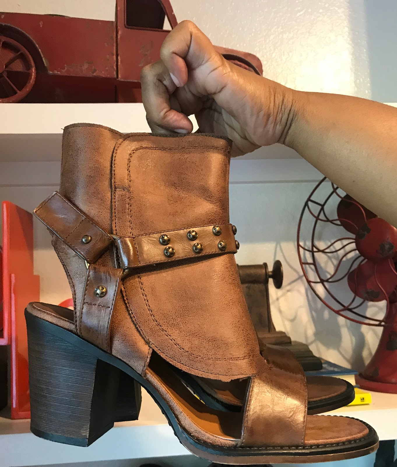 Image: Peep Toe Leather Booties From Buckles. Most of the time I can never find a size 10 that fit my narrow feet. I ordered them and had them shipped to store.  #weekenebitsandfvorites
