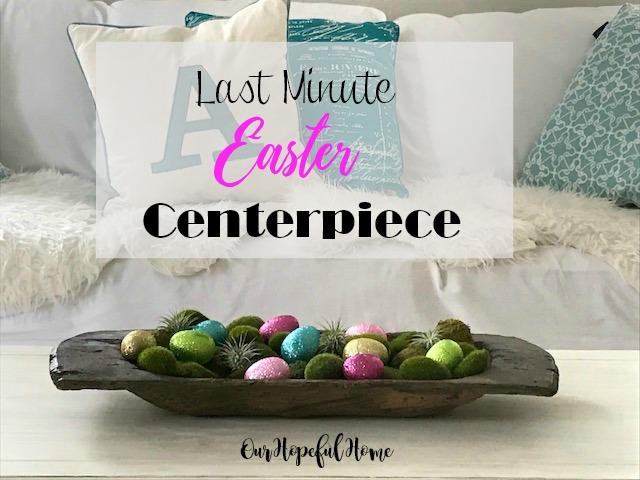 dough bowl glitter eggs moss rocks air plants Easter centerpiece