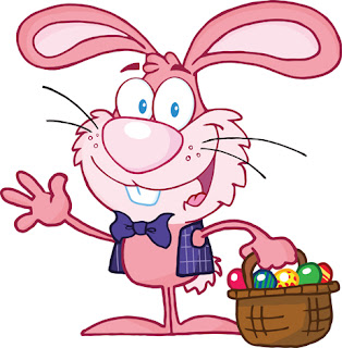 Clipart image of a cartoon pink Easter bunny holding a basket of coloured eggs and waving