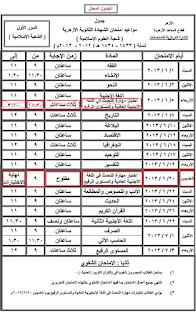 جدول امتحانات الثانوية الازهرية المعدل - الشعبة الاسلامية- للعام الدراسي 2012 / 2013