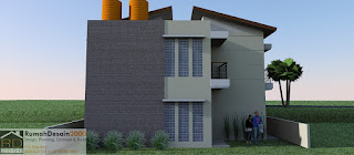 Tampak Belakang Desain Rumah kost minimalis modern 2 lantai