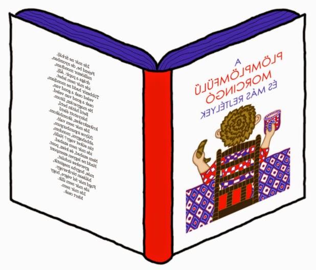 Digitális rajz egy verseskötetről, a könyv borítóján a plömplömfülű morcingó és más rejtélyek cím, a hátlapon a versbe szedett fülszöveg látható.