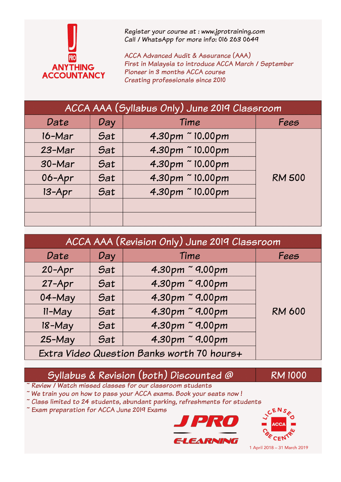J Pro Business Training: ACCA JUNE 2019 EXAM PREPARATION