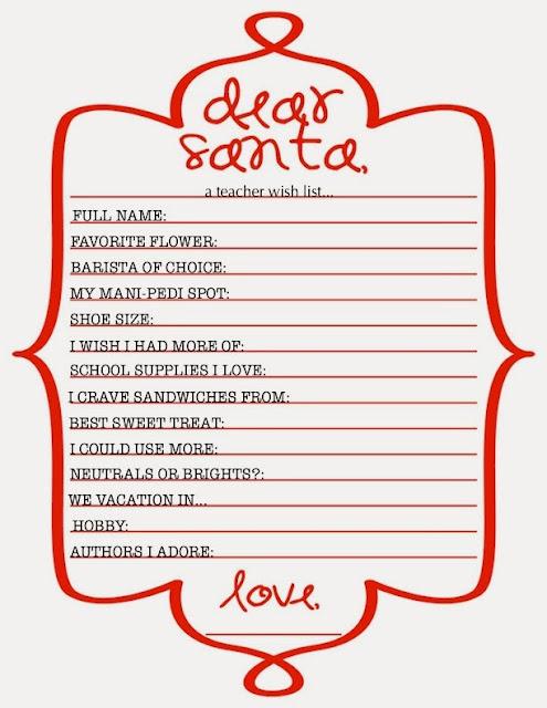 The Little Nook Dear Santa Teacher S Christmas Wish List