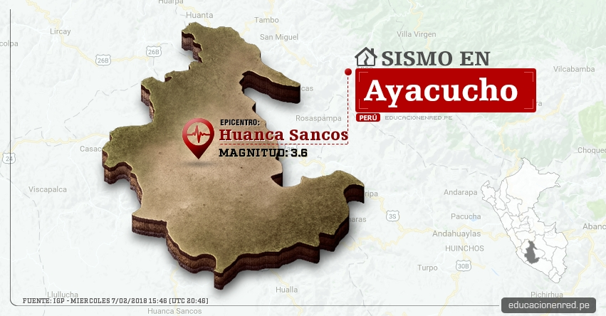 Temblor en Ayacucho de magnitud 3.6 (Hoy Miércoles 7 Febrero 2018) Sismo EPICENTRO Huanca Sancos - IGP - www.igp.gob.pe