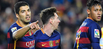 Messi,Suarez and Neymar in action for barcelona