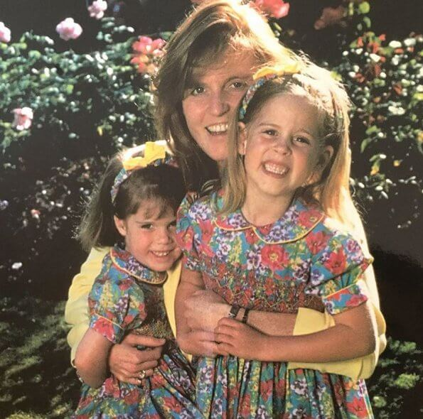 Princess Eugenie, Jack Brooksbank, Sarah Ferguson and Princess Beatrice. Princess Eugenie wore a floral dress by Erdem