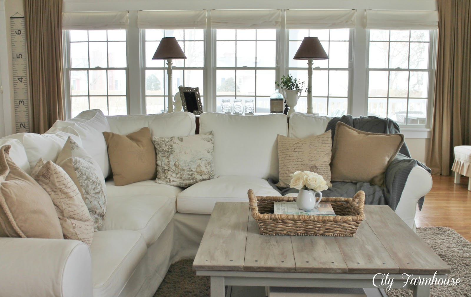 Family room reveal thrifty pretty functional city farmhouse - Family living room ideas ...