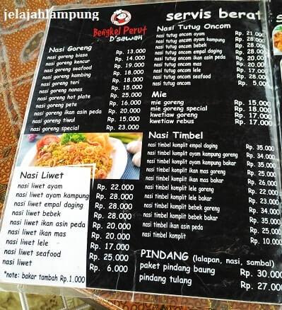 menu makanan bengkel perut dsawah metro