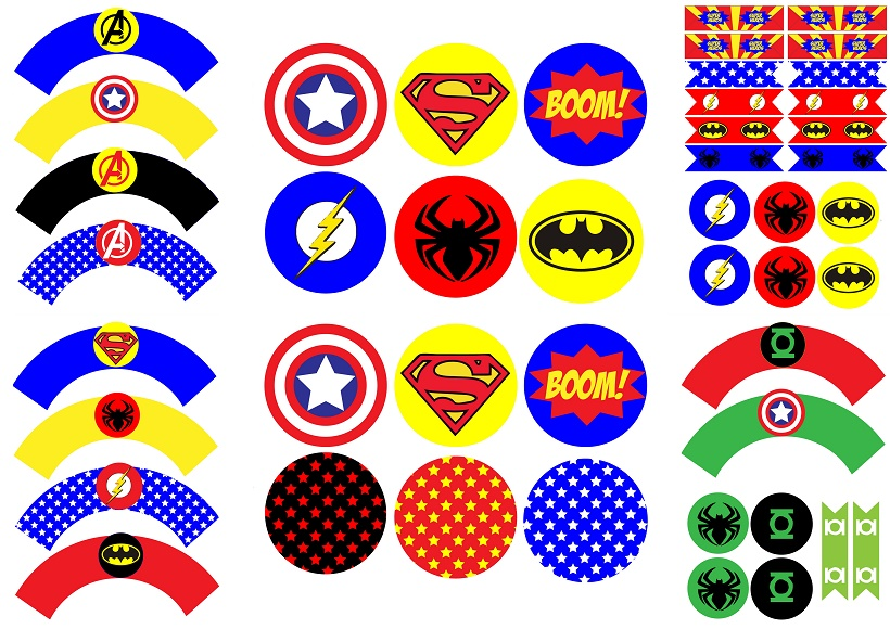 Superheroes birthday party free printable wrappers and for Stickers pared baratos