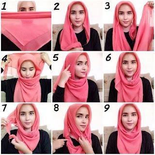 Langkah Memakai Hijab Paris Segi Empat Modern