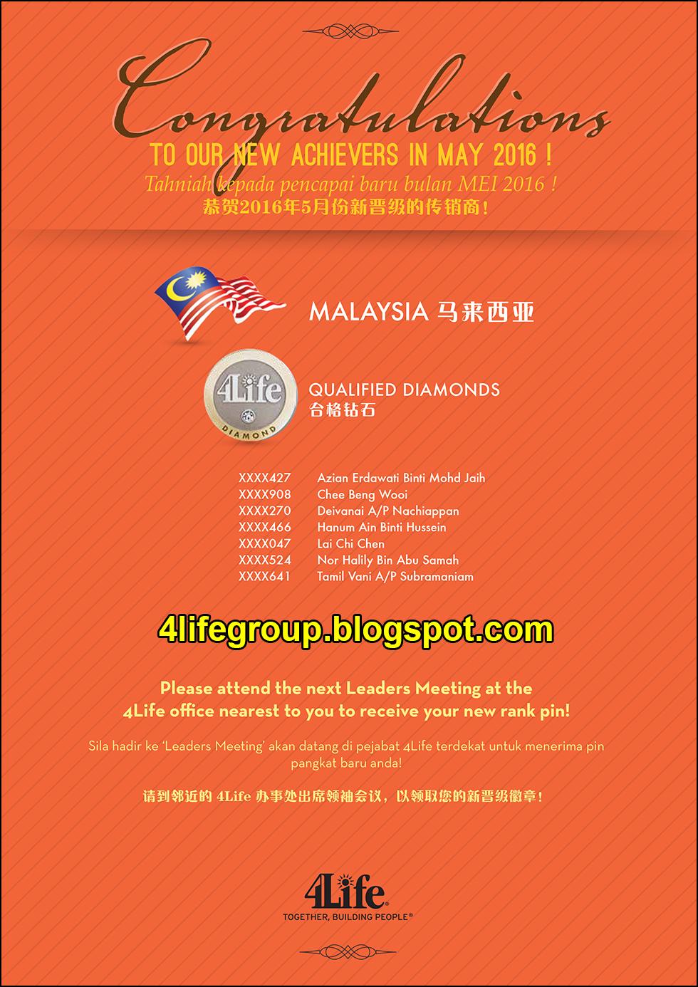 foto Pencapai Pangkat Baru Mei 2016 4Life Malaysia