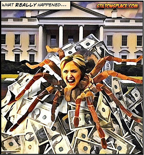 stilton's place, stilton, political, humor, conservative, cartoons, jokes, hope n' change, memo, nunes, russia, trump, hillary, dnc, spider, web, money