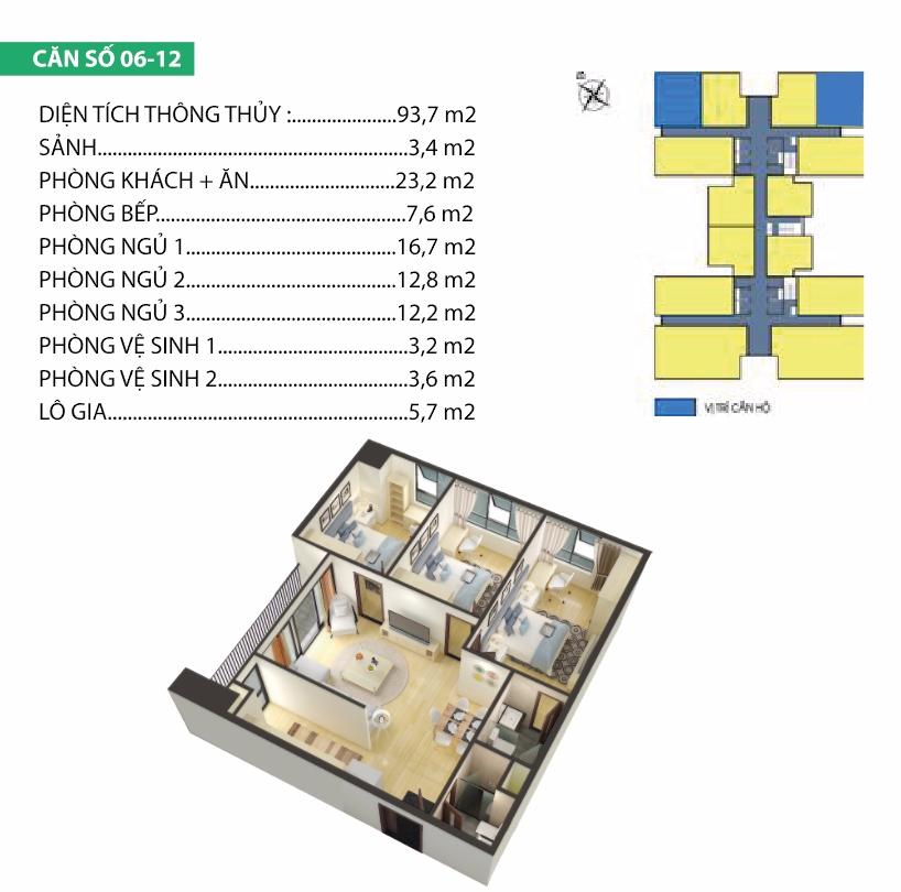 Thiết kế căn hộ 6-12 Housinco Premium