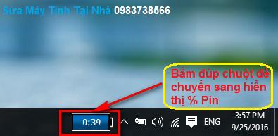 Cách hiện phấn trăm Pin laptop trên thanh Taskbar