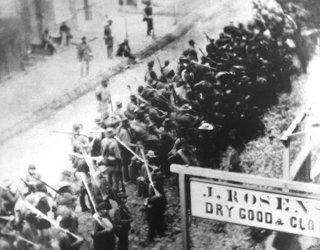 Confederate Soldiers on the march through enemy occupied Frederick, Maryland in 1862.