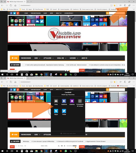 Windows 10 - Microsoft Edge - Condividi link
