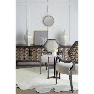 beautiful chairs and console with chevron pattern