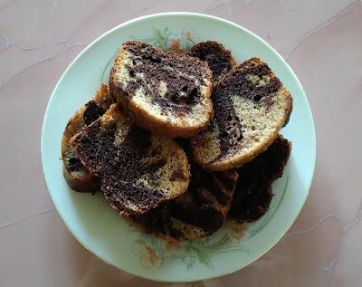 kek pisang coklat