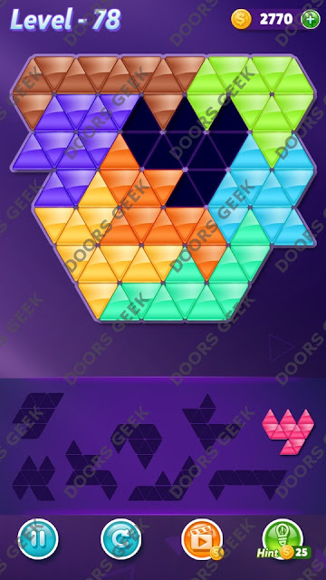 Block! Triangle Puzzle 8 Mania Level 78 Solution, Cheats, Walkthrough for Android, iPhone, iPad and iPod