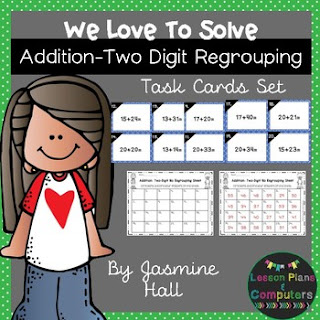 https://www.teacherspayteachers.com/Product/halfoffhalftime-We-Love-To-Solve-Addition-Two-Digit-Regrouping-Task-Cards-2998565