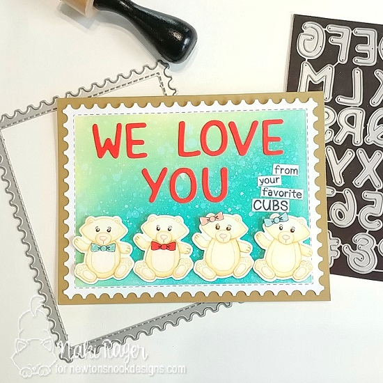 Love You Bear Cubs Card by Nakaba Rager  | Papa Bear Stamp Set by Newton's Nook Designs #newtonsnook #handmade