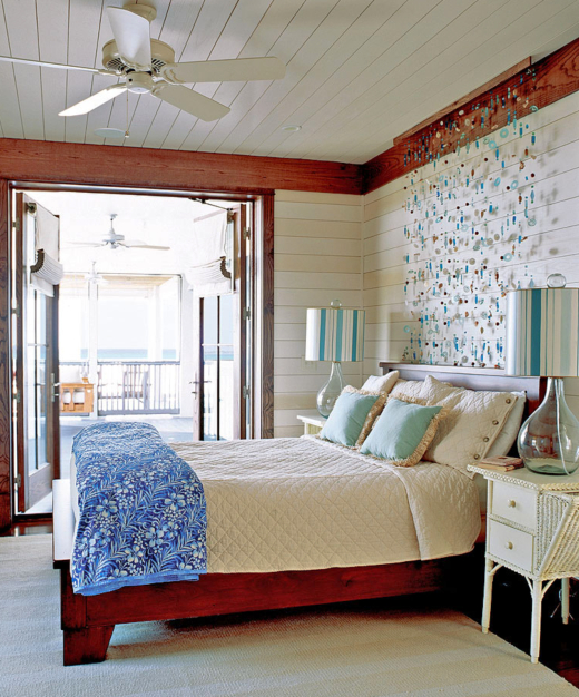 Beachy Decorative Wall Hangings Over The Bed With Sea Glass