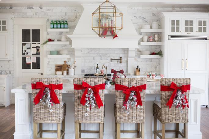 christmas decorating ideas for kitchen island with spacing for seating best white grey granite countertops and