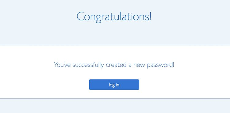 Bluehost password successfully changed