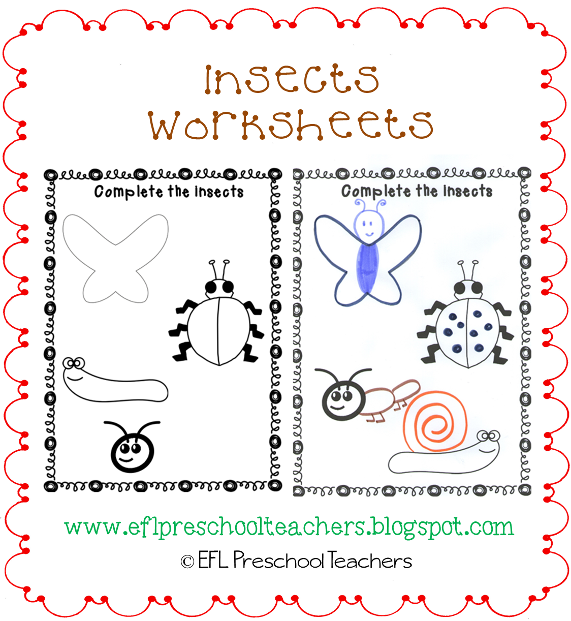 Esl Efl Preschool Teachers Insects Worksheets And More