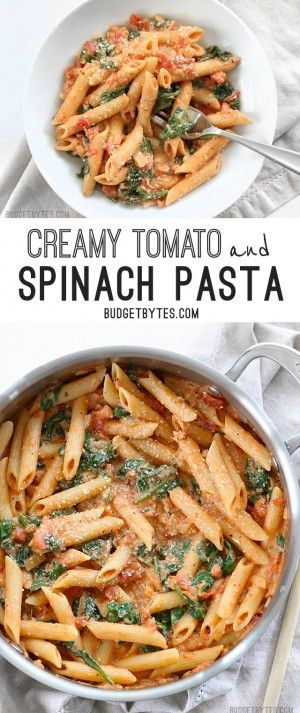 CREAMY TOMATO AND SPINACH PASTA #creamy #tomato #spinach #pasta #pastarecipes #easypastarecipes