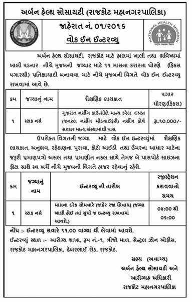 Urban Health Society, Rajkot Staff Nurse Recruitment 2016