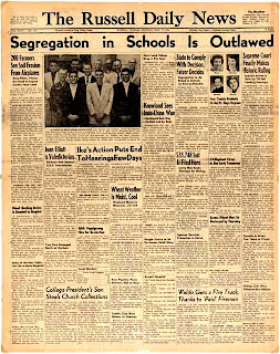 Brown v Board of Education newspaper article in Russell Daily News