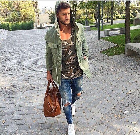 Look masculino com camuflagem para o inverno