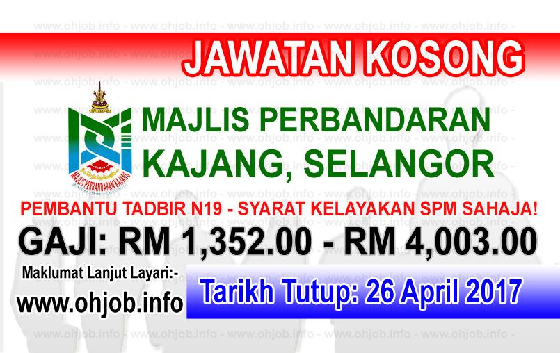 Jawatan Kerja Kosong MPKj - Majlis Perbandaran Kajang logo www.ohjob.info april 2017