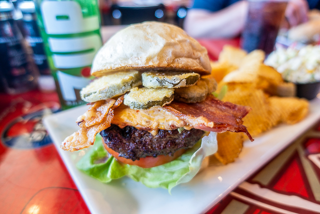 Burger with pimento cheese, bacon & fried pickles- Gas Full Service Restaurant - St Augustine FL