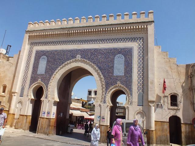 Puerta azul y verde Fez