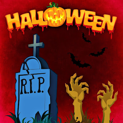 Halloween slogan with jack-o-lantern for the letter O, a gravestone, pair of corpse hands rising from the ground and bats in background.