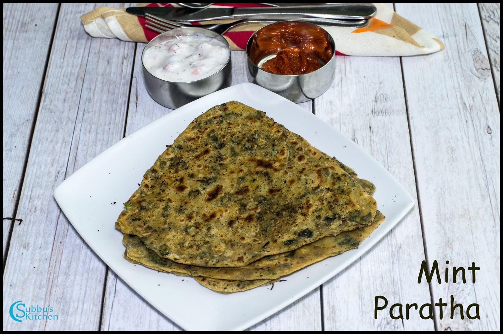 Mint Paratha Recipe   Pudina Paratha Recipe - Subbus Kitchen