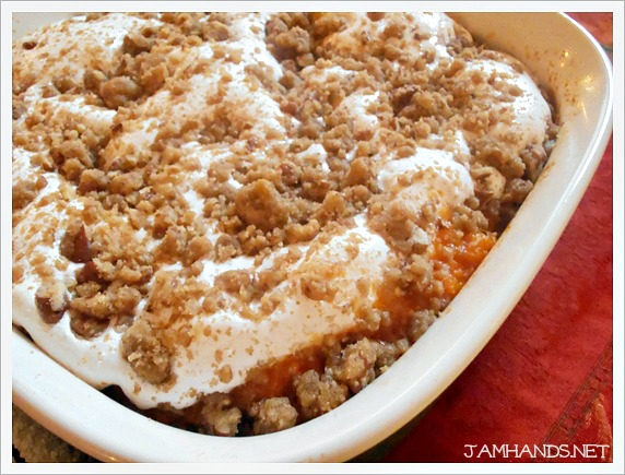 Jam Hands Sweet Potato Casserole With Marshmallow Pecan Streusel