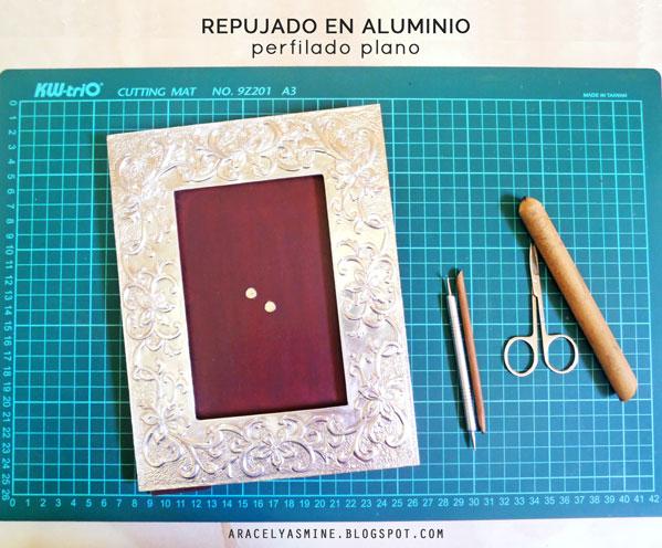 Técnica perfilado plano en el repujado en aluminio
