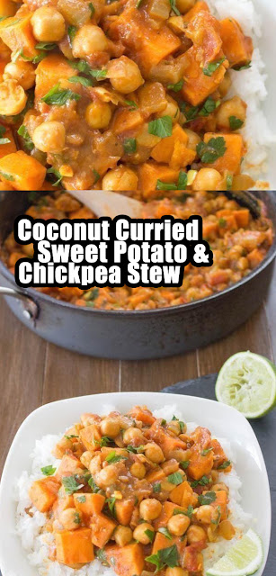 Delicious Coconut Curried Sweet Potato & Chickpea Stew