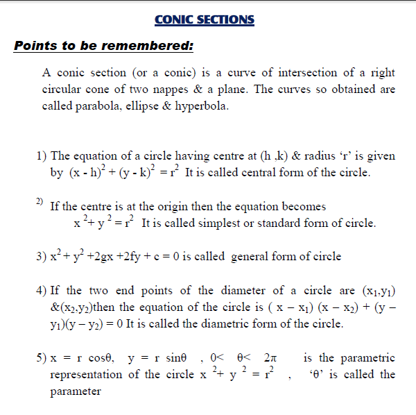 Concept of conic section with important questions ,ellipse,hyperbola,parabola,mcq for competitive mathematics,