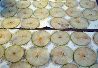 preparación de las láminas crujientes de manzana