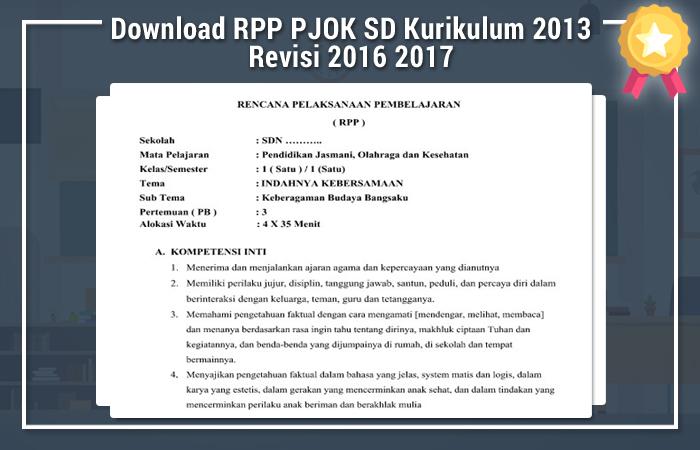 Download RPP PJOK SD Kurikulum 2013 Revisi 2016 2017