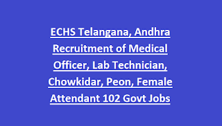 ECHS Telangana, Andhra Recruitment of Medical Officer, Lab Technician, Chowkidar, Peon, Female Attendant 102 Govt Jobs