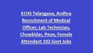 ECHS Telangana, Andhra Recruitment of Medical Officer, Lab Technician, Chowkidar, Peon, Female Attendant 102 Govt Jobs