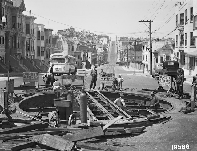 Market Street Railway's Castro Street Cable line 6 June 1941 worldwartwo.filminspector.com